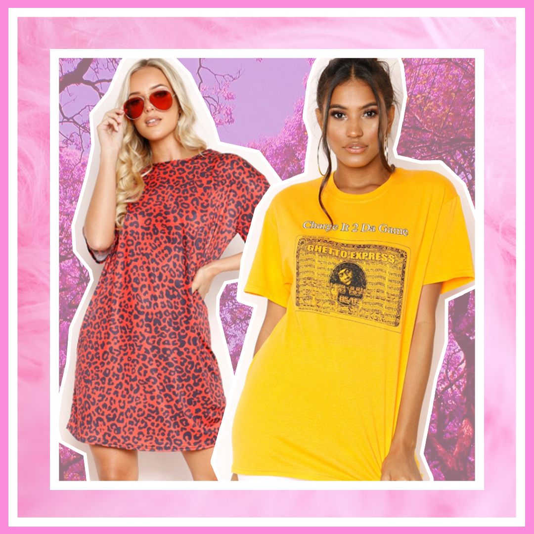 Ghetto express slogan tee and leopard dress